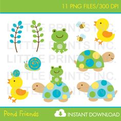 Turtle Frog Clipart INSTANT DOWNLOAD por LittlePrintsParties
