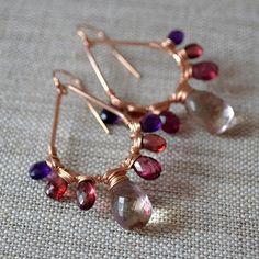 Bold Gemstone Earrings Rose Gold Ametrine Plum Rhodolite