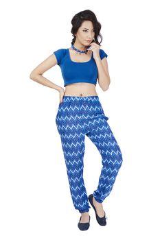 De Moza Ladies Woven Bottom Stright Pant Printed Viscose Blue   #palazzo #fashionlegging #bloggers #fashionblogger #fashionbloggers #skirts #demoza #bloggerpost #jogger #AW16