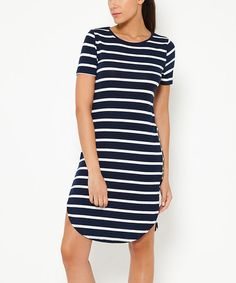 Loving this Navy Stripe Round Hem Bodycon Dress on #zulily! #zulilyfinds