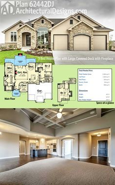 Architectural Designs House Plan 62442DJ gives you an open floor plan with a 2 beds on the main floor in a split bedroom layout and 3rd bedroom upstairs. In back, a large covered deck with a fireplace gives you a great space to entertain in.  Ready when you are. Where do YOU want to build?