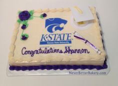 Shannon's graduation cake. May 15, 2015. Vanilla cake with vanilla buttercream. K-State Edible Image.
