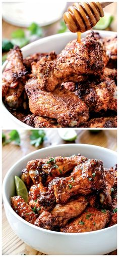 Baked Chipotle Honey Lime Hot Wings Ingredients 24 chicken wings with skin (approx 3 pounds), rinsed and patted dry Chipotle Chicken Rub 2 tablespoons baking powder 2 teaspoons salt 2 teaspoons chi…