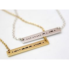 Sister Morse Code, Morse Code Necklace, Morse Code Jewelry, Silver Bar Necklace, Sister Necklace, Bridesmaid Gift, Christmas Gift ($18) found on Polyvore