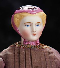The Lifelong Collection of Berta Leon Hackney: 19 Petite German Bisque Lady Doll with Rare Sculpted Magenta Bonnet