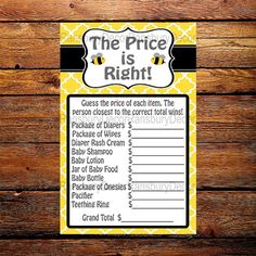 Mom to Bee The Price is Right - Baby Shower Game - Bee Theme - Baby Sprinkle - Printable - Digital Download - Mommy to Bee - Bee Party - by RansburyDecor