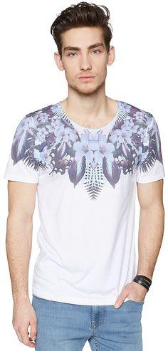 T-Shirt mit Dschungel-Print für Männer (unifarben mit Print, kurzärmlig mit Rundhals-Ausschnitt) aus Jersey, mit Logo-Stickerei hinten. Material: 65 % Polyester 35 % Baumwolle...
