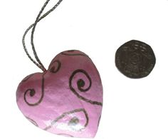 Silver Scroll Pink Heart Scrolls Pink Heart Pink by DidiLouCrafts