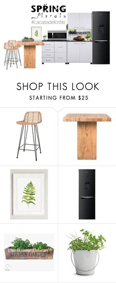 """""""SpringFloralsKitchen"""" by lacasadellostile ❤ liked on Polyvore featuring interior, interiors, interior design, home, home decor, interior decorating, Ciel, Moe's Home Collection, Samsung and Potting Shed Creations"""