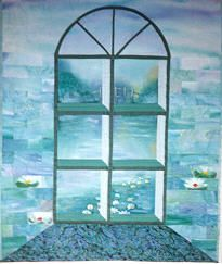 Attic window quilt by Maureen Thomas at A Quilt Artist.  A surreal effect of attic windows.