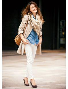エスニック柄 ストールで洗練された通勤コーデに | ファッション コーディネート | with online on ウーマンエキサイト