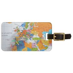 Colorful Travel Map Bag Tag