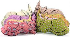Hand Painted Plush Cats by Patti Haskins