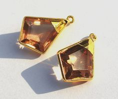 24K Gold Electroplated Trim Morganite Quartz by RareGemsNJewels