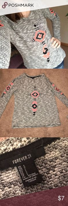 Forever 21 sweater shirt Size large. Thin sweater like material. Long sleeve. Took the tags off, wore once. Like new!! Beautiful embroidery on the front and on the sleeves Forever 21 Sweaters