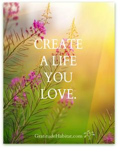 Create a life you love.   www.GratitudeHabitat.com #life-quote #gratitude
