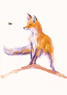 ORIGINAL WATERCOLOUR PAINTING: FOXES CUBS HARES CHICKENS CATS :  BEE INSPIRED