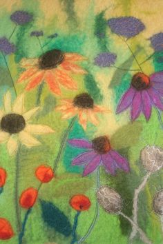 Sue's meadow felted picture