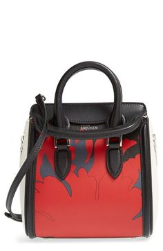 1ebfba7605e7 Alexander McQueen  Mini Heroine - Lotus Print  Leather Satchel available at   Nordstrom Alexander