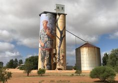 A tall canvas: Brisbane artist Fintan Magee transformed the Patchewollock silo with his portrait of local farmer Nick Hulland 2016
