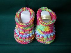 Baby Booties,Hansybooties,Ankle High Style, Hand Knitted, 9 cm,Rainbow Yarn £4.50