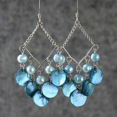 Pearl wavy dangling long earrings handmade by AnniDesignsllc