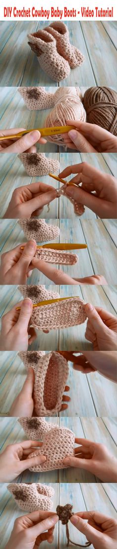 How to make a DIY Crochet Cowboy Baby Boots - Step by step video tutorial