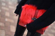 #red #clutch #faux #fur #black #allblack #fringeboots #handmade #leather #streetstyle #woman #leatherpants