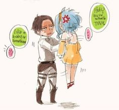 Attack on Titan / Shingeki no Kyojin  and FiaryTail crossover...Hey! Only gajeel gets to picky levy up!
