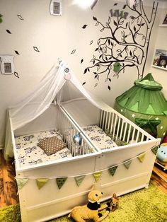 25 Adorable Nursery Room Ideas For Baby Twins Twin Baby Rooms, Baby Bedroom, Twin Babies, Baby Twins, Twin Room, Baby Beds, Newborn Babies, Nursery Twins, Nursery Room