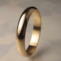 Men's Gold Wedding Band 4mm recycled 14k Gold Ring by JanishJewels, $465.00
