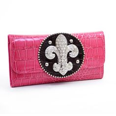 Rhinestone Croco Embossed Fleur De Lis Sign Checkbook Wallet-Hot Pink