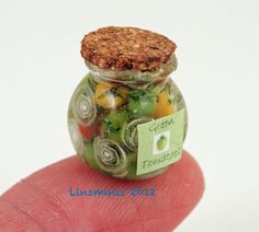 12th Scale Handmade Miniature Jar Green Tomatoes