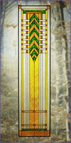 Arts and Crafts Tall Prairie Window Art Glass Panel 5 MGR005