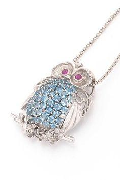 Vintage Estate Jewelry 18K White Gold Gemstone & Diamond Owl Pendant Necklace