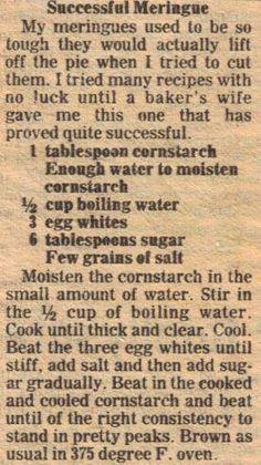 Successful meringue vintage recipe clipping recipes that deserve a comeback Retro Recipes, Old Recipes, Vintage Recipes, Sweet Recipes, Cooking Recipes, Recipies, 13 Desserts, Dessert Recipes, Meringue Desserts