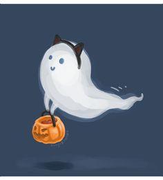 "halfaleagueonward: "" The cute dashboard ghostie wishes you a Happy Halloween! Mode Halloween, Theme Halloween, Halloween Ghosts, Holidays Halloween, Halloween Crafts, Happy Halloween, Cute Halloween Tattoos, Ghost Cat, Cute Ghost"