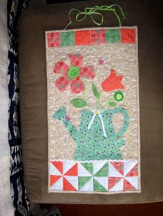 just made this , pattern from Quilts ad more, Door decor issue spring 2014 - will hang in my new quilt room.