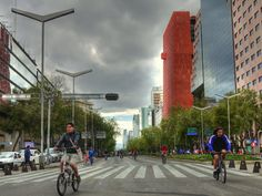 Relaxed cycling and skating on Sundays Reforma Avenue, Mexico City