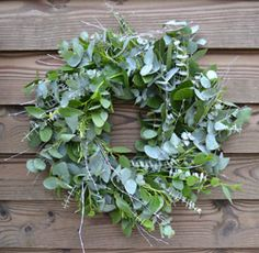 Eucalyptus Wreath. Made from three different types of eucalyptus, this Cornish made wreath weaves delicate sage greens and silver hints to give a gorgeous icy effect.