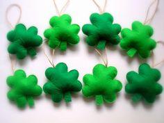 St Patrick's day Green Felt Shamrock Ornaments Felt St. Patrick's Day Decoration St. Patrick's Day Shamrock 8 pieces (20.00 USD) by Lilamina