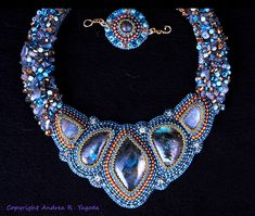 Labradorite Bead Embroidered Collar by Beadswork on Etsy, $349.99