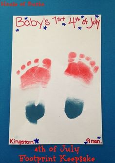 4th of July Footprint Keepsake - Patriotic print craft - 4th of July Crafts for Baby - House of Burke