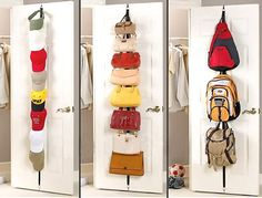The closet accessories to hide your hats away, or put them proudly on display. This adjustable rack has eight hooks each, providing space for up to 16 caps. Sturdy metal hooks attach easily to most doors.