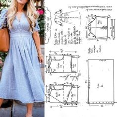 Maxi Dress Sewing PDF Pattern - Womens Maxi Dress Pattern - Maxi Dress patterns for Women Fashion Sewing, Diy Fashion, Fashion Outfits, Couture Fashion, Dress Sewing Patterns, Clothing Patterns, Sewing Clothes, Diy Clothes, Make Your Own Clothes