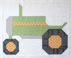 "Bee In My Bonnet: The Quilty Barn Along - Barn 12 and Easy Flying Geese and ""Furrows"" Block Tutorial!... Bee in My Bonnet does it again with this darling tractor block."
