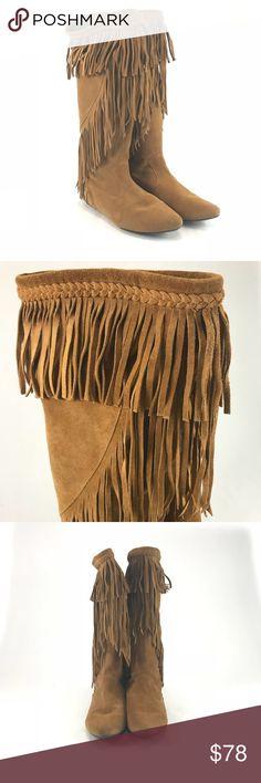 0d376fd9a Sam Edelman camel brown Utah fringe boots Pre-owned woman s Sam Edelman  camel brown Utah