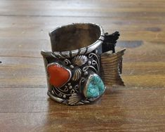 Vintage Turquoise and Coral Sterling Silver Watch Cuff Gold Earrings, Beaded Necklace, Thing 1, Coral Bracelet, Silver Work, Vintage Turquoise, Indian Jewelry, Sterling Silver Necklaces, Watch Bands