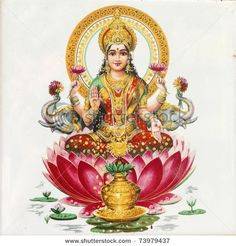 Lakshmi - Hindu goddess of wealth, prosperity,light,wisdom,fortune and fertility sitting on flower of red lotus, India, Asia