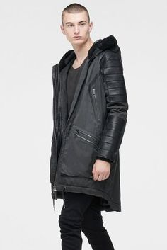 LONG PARKA WITH SHEARLING IN MOSS GREY & BLACK